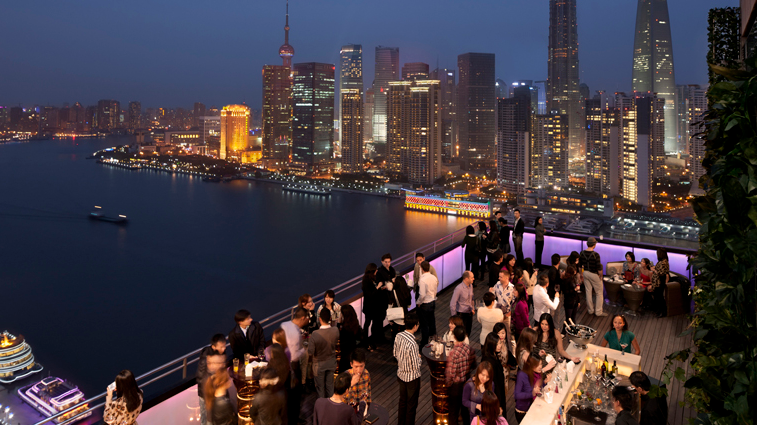 CHAR Bar & Grill's popular roof terrace. Photo courtesy Hotel Indigo Shanghai on the Bund